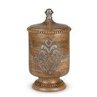 GG Collection Heritage Wood and Metal Inlay Medium Canister 13""