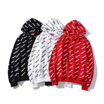 Supreme Hooded Round Neck Long Sleeve Sweater