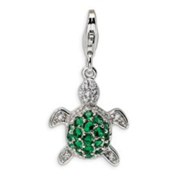 Green & Clear CZ Turtle Charm in Sterling Silver