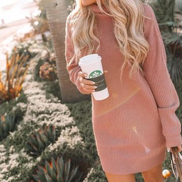 Turtleneck women knitted sweater dress Casual ladies short sweater dresses pullover Long sleeve jumper dress