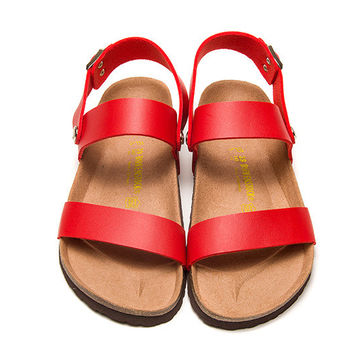 2017 Birkenstock Summer Fashion Leather Cork Flats Beach Lovers Slippers Casual Sandals For Women Men Couples Slippers color red size 36-45