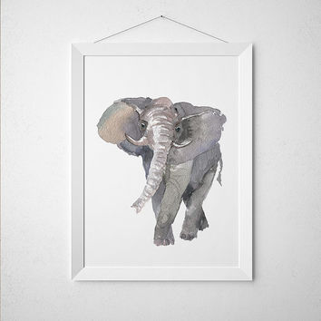 Nursery poster Cute elephant print Watercolor animal art ACW215