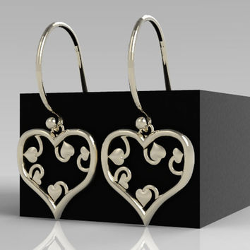 Valentines Day Earrings Heart shaped Earrings with smaller curly Hearts inside made of Sterling Silver