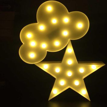 Meaningsfull 3D Marquee Cloud Led Night Light Warm White Star Table Lamps For Kids Children Gift Party Wedding Room Decoration