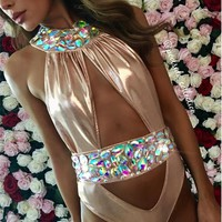 Luxury Rhinestone One Piece Women Swimsuit Gold S