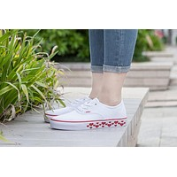 Design For Valentine's Day Vans AUTHENTIC White Sneaker Leisure Shoes