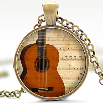 Acoustic Guitar Necklace, Music Charm, Guitar Jewelry, Classical Guitar Pendant (1894)