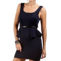 Navy Belted Peplum Dress