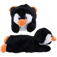 Adult & Children Kid Size Black Penguin Animal Plush Fuzzy Slippers