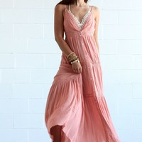 Sweet Memories Button Front Maxi Dress - Coral