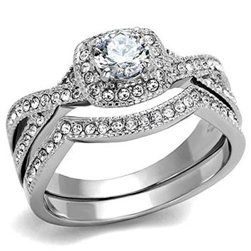 Vip Jewelry Co 190 Ct Halo Round Cut AAA Cz Stainless Steel Womens Infinity Wedding Ring Set