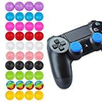 Voberry @ NY 4x Silicone Gel Thumb Stick Cover For Sony PS4 3 XBOX One 360 Controller (Purple)