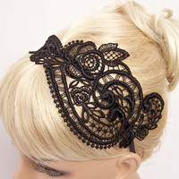 Anemone lace headband black by StitchFromTheHeart on Etsy
