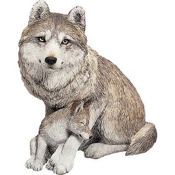 """Sandicast """"Forever Friends"""" Sitting Gray Wolf & Pup Sculpture"""