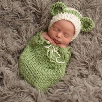Newborn Photography Props Crochet Outfits Green Bean Costume Knit Beanie Hat Winter Clothing Baby Infant Shower Gift Photo Prop