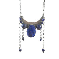 Lapis Lazuli Moon Necklace, Blue Necklace, Bohemian Jewelry, Gypsy Necklace, Bohochic Fashion, Natural Stone Necklace, Crescent Moon