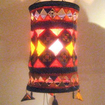 Vintage Asian Lamp Shade/ Hand Made Lamp Shade/Lamp cover / Living room decor / Shabby chic lamp shade /Fabric lamp shade