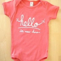Hello I'm New Here Funny text baby Onesuit 36 mo by eggagogo