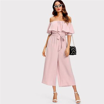 Blush Off The Shoulder Flounce Jumpsuit