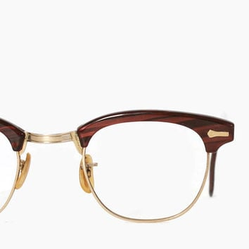 Vintage 50s Glasses FRAMES / 1950s Redwood Marbled Gold Wire Rim Eyeglasses