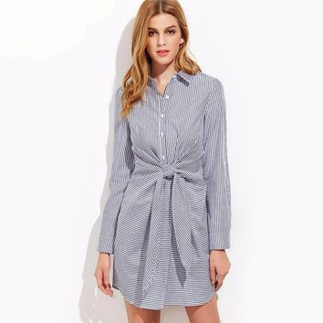 Korean Women Clothing Lapel Long Sleeve Navy Striped Single Breasted Tie Waist Shirt Dress