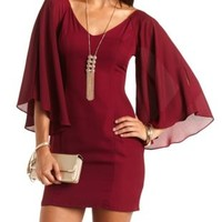 Cold Shoulder Kimono Sleeve Shift Dress by Charlotte Russe - Wine