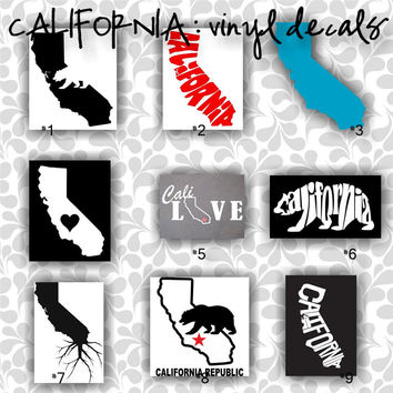 CALIFORNIA vinyl decals, state of california, golden state, car decals, car stickers, laptop sticker - 1-9