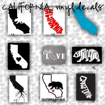CALIFORNIA vinyl decals | car window sticker - custom california car sticker - personalized decal - car sticker