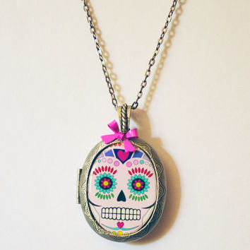 sugar skull skull locket sugar skull locket dia de los muertos day of the dead punk colorful sugar skull locket halloween necklace