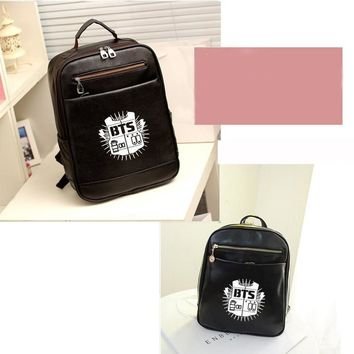 BTS Logo Printing PU leather Backpack For Women School Bags For Teenage Girls BackPack Mochila Feminina