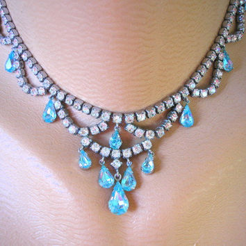 Rhinestone Necklace, Turquoise Necklace, Wedding Jewelry, Bridal Necklace, Wedding Necklace, Aqua Crystal Necklace, Teal Choker
