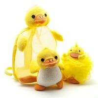 Childrens Duck Bath Set - Includes Mesh Duck Backpack, Duck Loofah, and Duck Bath Toy/Bathing Poof -