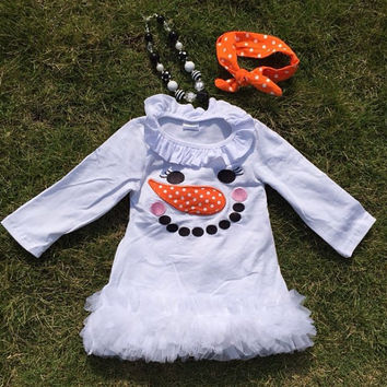 READY TO SHIP!! Girls Christmas Dress Size 5 6 Toddler Snowman Dress Boutique Dress Toddler Christmas Girls Christmas Tutu Dress