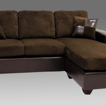 2 pc 2 tone chocolate corduroy and leather like vinyl upholstered reversible chaise sectional sofa with throw pillows