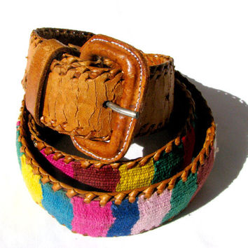 Vintage Peruvian Belt - Multicolored Woven Pattern w/ Light Tan Brown Leather - Retro 70s Hippy Style - Size Medium 34""