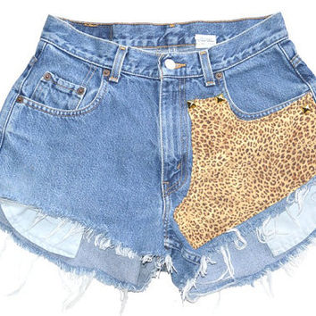 Studded High Waisted Levi's Cheetah / leopard Shorts