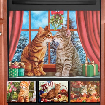 Seasonal Cats Dishwasher Magnet Set