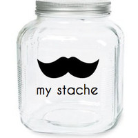 My Stache Jar The Monopoly Man Mustache by olivetreemonograms