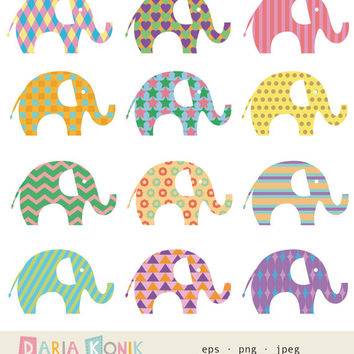 Elephant Clip Art Set- elephants, children's clipart, patterned, dots, stripes, hearts, stars, chevron, vector, png, jpeg, instant download