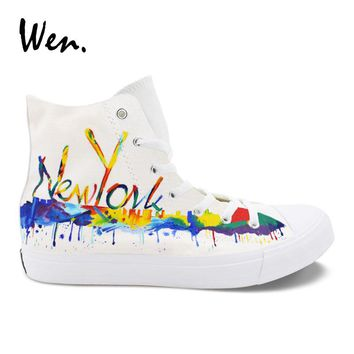 Wen Original Canvas Shoes New York City Skyline Hand Painted Vulcanize Sneakers