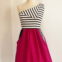 NEW one shoulder striped dress by chrystalshop on Etsy