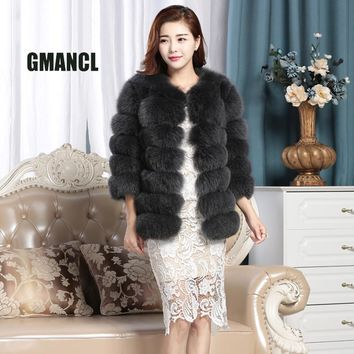 GMANCL Genuine Fox Fur Vest 2017 Female Real Fur Slim Wide-waisted Coat For Girl Silk Lining With Pocket For Women Jacket