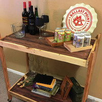 Liquor cart /booze buggy/ rolling shelf : reclaimed wood, pallet furniture, upcycled, organizer, shelving