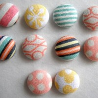 Decorative Omar Fabric Thumbtacks/Push Pins Set of 10