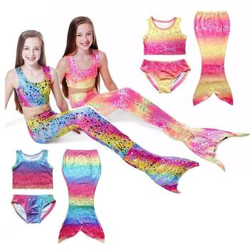 Girls Mermaid Tail Swimmable Swimming Costume Swimwear Colorful 3Pcs Bikini Set