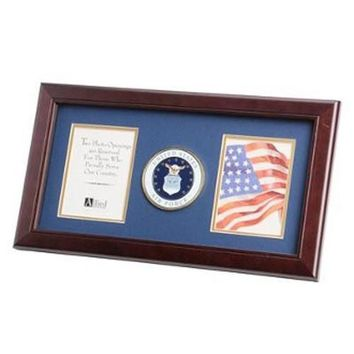 U.S. Air Force Medallion Double Picture Frame Hand Made By Veterans