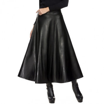Women Fashion Faux Leather High Waist Pleated Swing Maxi Skirt