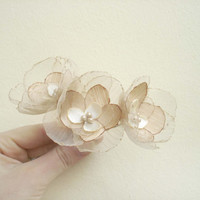 Beige Wedding Hair Pins Small Bridal Flowers
