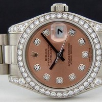 ROLEX - Ladies 26mm 18kt White Gold Datejust President - Rose Diamond - 179159