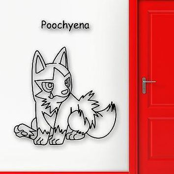 Wall Stickers Vinyl Decal Pokemon Poochyena Anime Cartoon for Kids Room (ig1107)